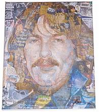 THE BEATLES 'GEORGE IN THEIR LIVES' SIGNED CANVAS PRINT BY ANTHONY BROWN