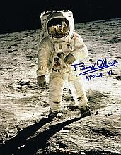 BUZZ ALDRIN SIGNED HISTORIC WALK ON THE MOON PHOTO.