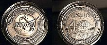 APOLLO 40th ANNIVERSARY MEDALLION CONTAINING METAL FLOWN TO THE MOON ON APOLLO MISSIONS!