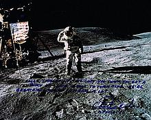 CHARLIE DUKE SIGNED LUNAR SURFACE PHOTO
