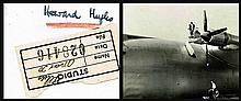 HOWARD HUGHES SIGNED PHOTO OF HIMSELF WITH THE SPRUCE GOOSE 1947 PHOTO.