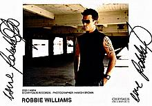 TWICE SIGNED ROBBIE WILLIAMS PROMO PHOTO