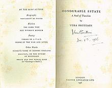 VERA BRITTAIN SIGNED HONOURABLE ESTATE 1936 BOOK