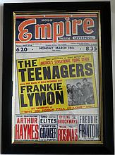 FRANKIE LYMON RARE ORIGINAL CONCERT POSTER MARCH 18TH 1957 - FIRST APPEARANCE IN GREAT BRITAIN!