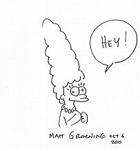 MARGE SIMPSON MATT GROENING SIGNED DRAWING ON A4 CARD.