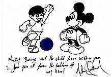 MICHAEL JACKSON SIGNED AND INSCRIBED DRAWING OF MICKEY MOUSE AND BOY PLAYING SOCCER