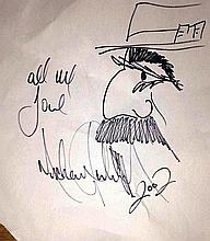 THE OLD MAN IN A HAT DRAWING BY MICHAEL JACKSON SIGNED AND INSCRIBED.