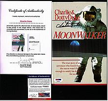CHARLIE DUKE TWICE SIGNED MOONWALKER BOOK