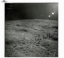 EDGAR MITCHELL SIGNED MOON PHOTO.