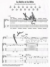 PETE DOHERTY SIGNED 'LA BELLE ET LA BETE' SONG SHEET