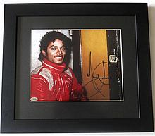MICHAEL JACKSON SIGNED 'BEAT IT' PHOTO FRAMED