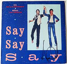 A MICHAEL JACKSON SIGNED 'SAY SAY SAY' 12
