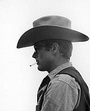 JAMES DEAN IN WESTERN GARB ON SET OF GIANT. SILVER PEARLESCENT PRINT. 12X16 INCHES.