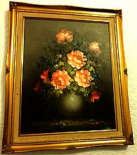 S.LEIGH STILL LIFE FLOWERS OIL PAINTING PRINT ON CANVAS.