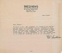 A RARE EARLY ED SULLIVAN SIGNED LETTER BEFORE HE WAS FAMOUS.