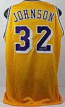 MAGIC JOHNSON SIGNED LA LAKERS JERSEY.
