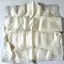 CLARK CABLE LINEN SIGNED HANDKERCHIEF