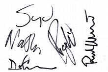 PINK FLOYD AUTOGRAPHED INDEX CARD.