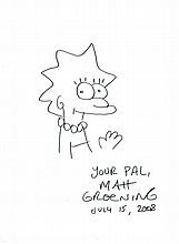 LISA SIMPSON MATT GROENING DRAWING.