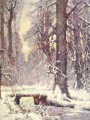 LOUIS SEYBOLD (American 20th Century) A painting, Forest Snow Scene, oil on canvas, signed. 24in. x 20in. Framed.