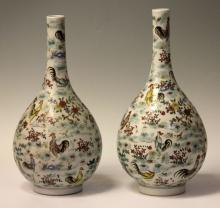 PAIR OF CHINESE PORCELAIN STEMNECK VASES