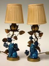 PAIR OF EARLY CHINESE PORCELAIN CAT LAMPS