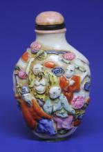 EARLY CHINESE PORCELAIN FIGURAL SNUFF BOTTLE