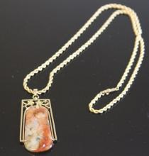 CHINESE CARVED JADE PENDANT WITH 14KT CHAIN