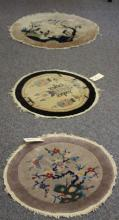 LOT OF (3) CHINESE WOOL ROUND CARPETS