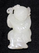 CHINESE WHITE JADE CARVING OF BOY, 1900'S