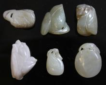 LOT OF (6) CHINESE JADE CARVINGS, 1900'S