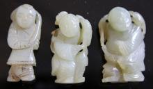 LOT OF (3) CHINESE JADE FIGURAL CARVINGS, 1900'S