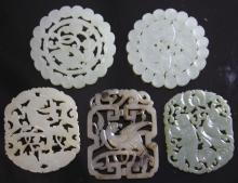 LOT OF (5) CHINESE CARVED JADE, 19TH CENTURY