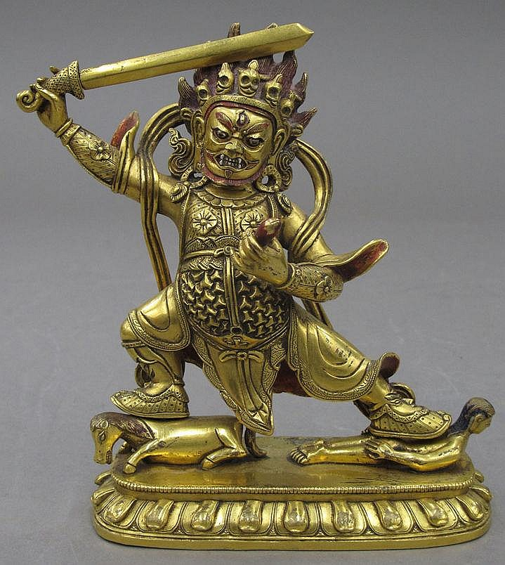 GOLD GILDED BUDDHA with sword height- 7