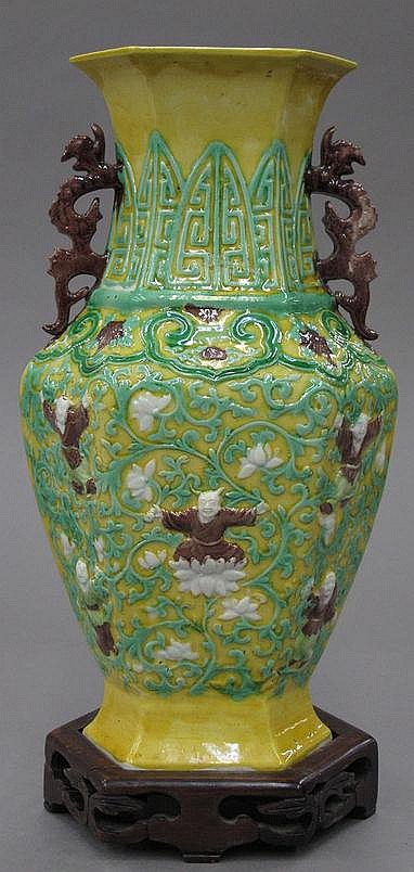 CHINESE THREE COLOR VASE with stand height- 12