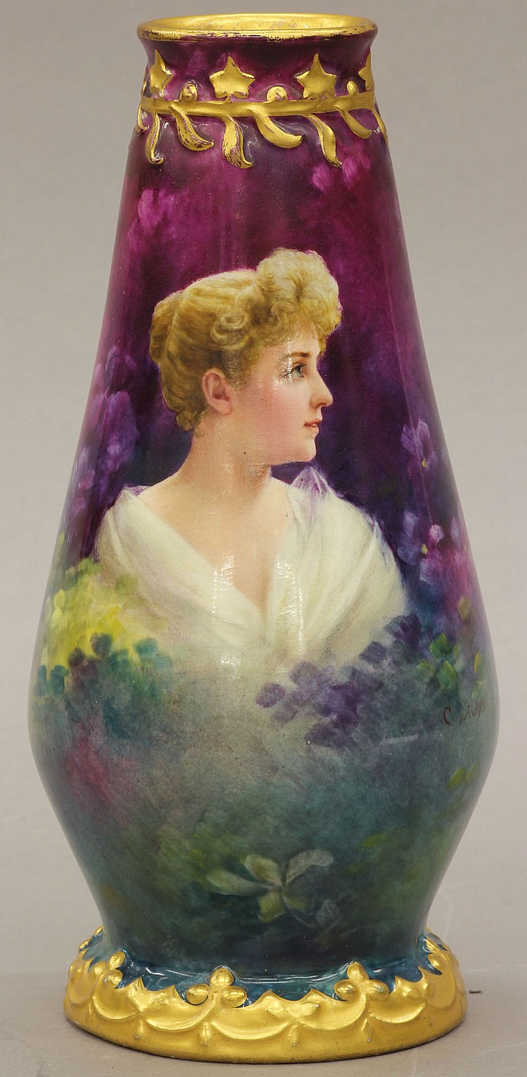 ROYAL BONN PORCELAIN VASE circa late 19th century height- 9