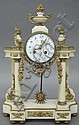 FRENCH ALABASTER MANTLE CLOCK, circa late 19th