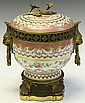 SEVRES PORCELAIN AND BRONZE COMPOTE