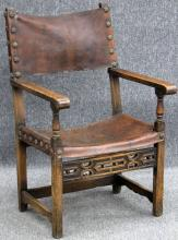 SPANISH COLONIAL STYLE LEATHER ARM CHAIR