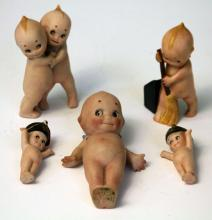LOT OF (5) KEWPIE BISQUE DOLLS
