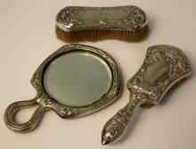 LOT OF (3) VICTORIAN STERLING SILVER VANITY SET