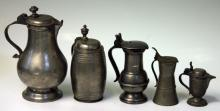 LOT OF (5) LATE 18TH CENTURY PEWTER STEINS