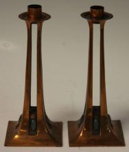 PAIR OF ART NOUVEAU CANDLESTANDS