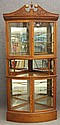 AMERICAN OAK CURVED GLASSCHINA CABINET with arch top circa 1900 height- 89