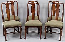 Set of (6) walnut Queen Anne side chairs.