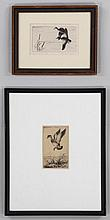 Group of (2) framed etchings