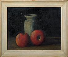 Still life of apples and vase  oil on board.