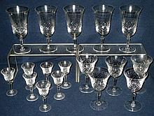 17 Cut Glass Wine, Water & Liquor Glasses