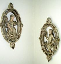 Pair Oval Ceramic Ornate Wall Plaques