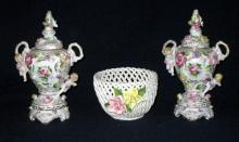 Ceramic Floral Lattice Basket & 2 Covered Urns